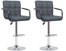 Pair of 2 Milan Grey Faux Leather Padded Seat Bar Stools  With Arms 1/2 Price Deal